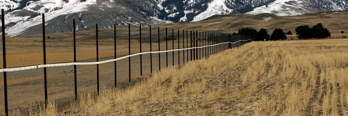 A sturdy fence marked by white fire hose encloses a field below mountains