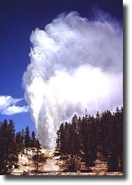 Steamboat Geyser ejects a huge volume of water