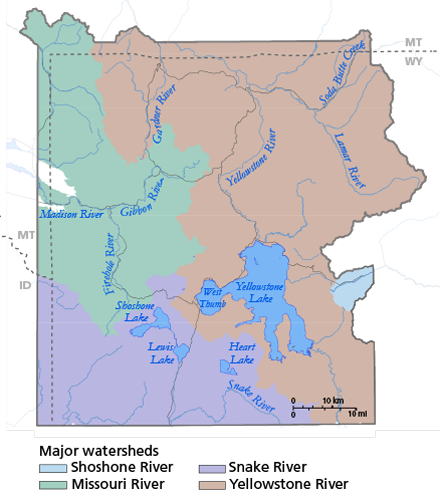 Water Yellowstone National Park US National Park Service - Yellowstone map us