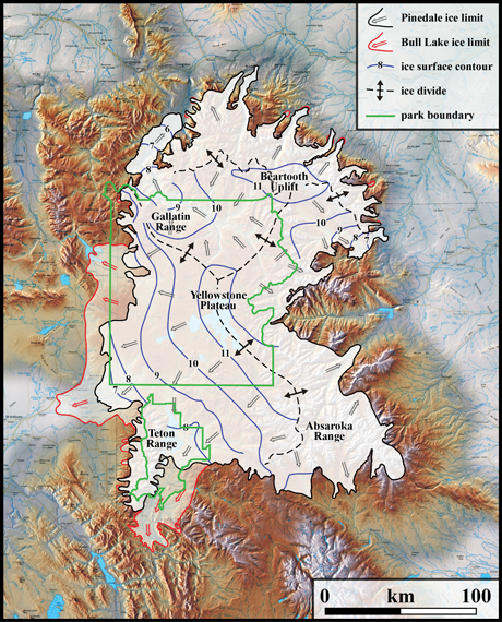 Locations of ice over Yellowstone National park and the surrounding mountains