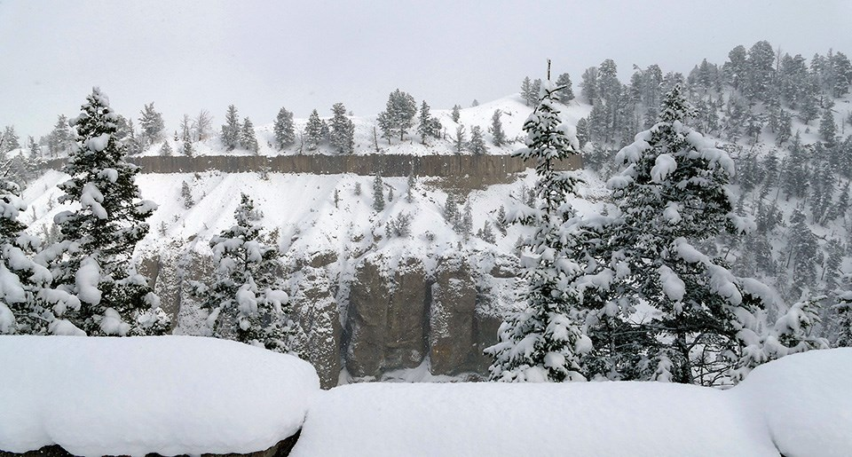 Rock columns form a cliff in a snow-covered landscape.