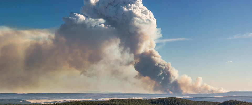 Heavy smoke rises from a wide landscape into blue sky