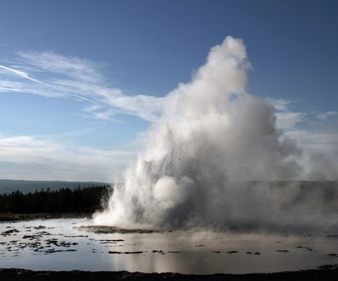 Water erupts from a geyser in the middle of shallow water