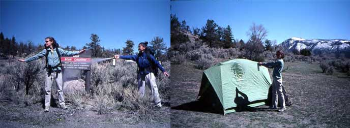 Examples of what not to do with bear spray: spray yourself or your tent!