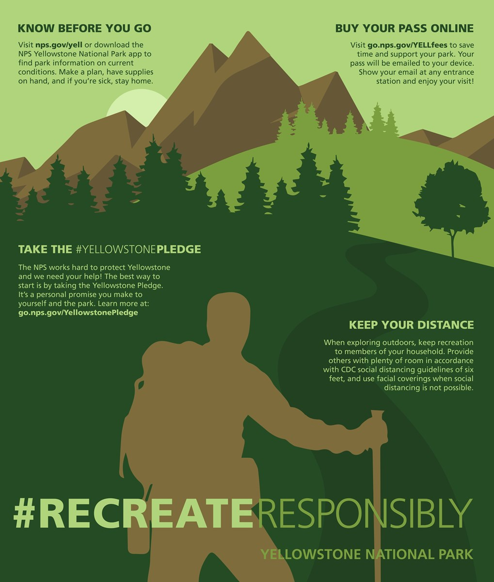 A graphic of a person hiking through the mountains with text about how to recreate responsibly in Yellowstone