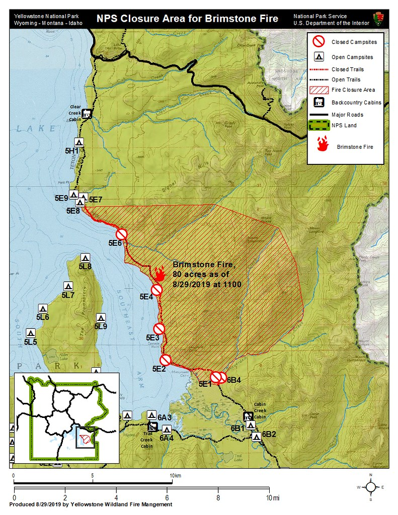 Map of Brimstone Fire closure