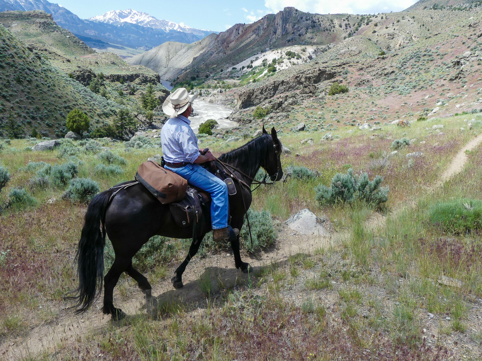 Riding on the Yellowstone River Trail through the Black Canyon of the Yellowstone