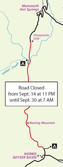 Inset image of Yellowstone's map showing a scheduled road closure.