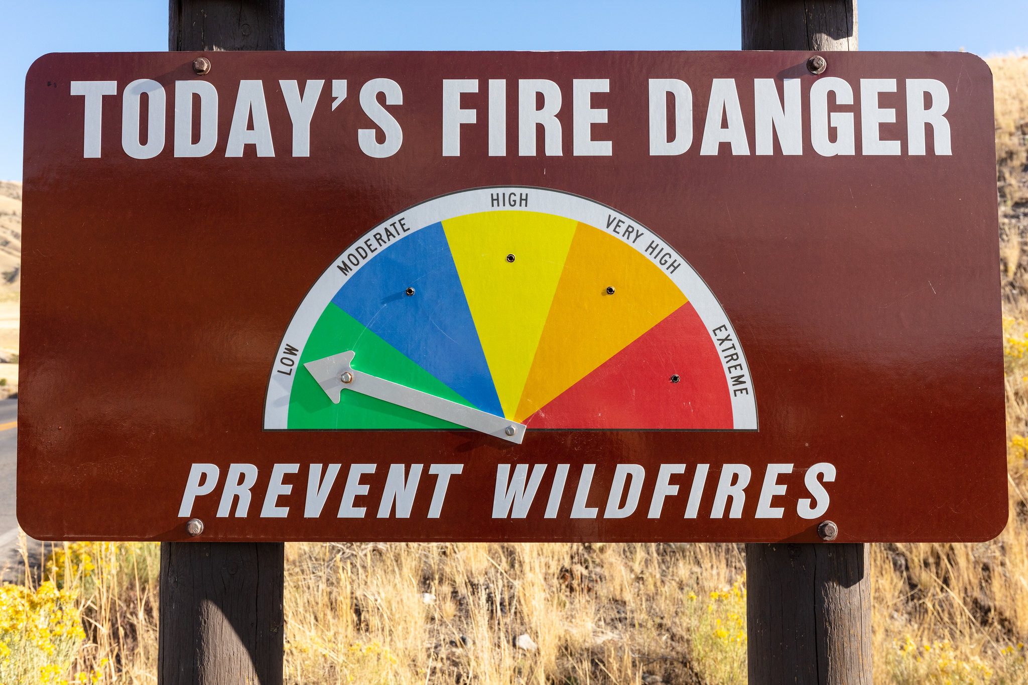 Sign showing fire danger is low