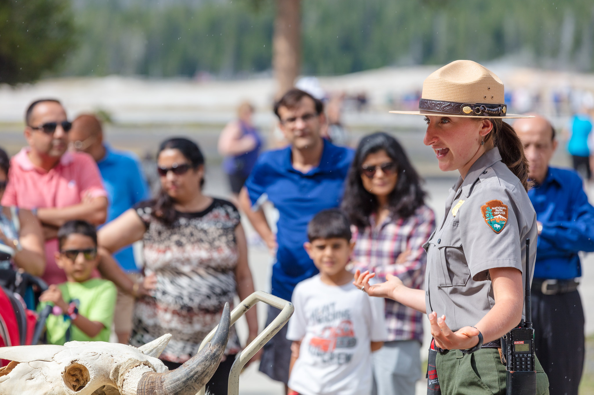 Ranger Sklyer gives a wildlife safety talk at Old Faithful Visitor Education Center