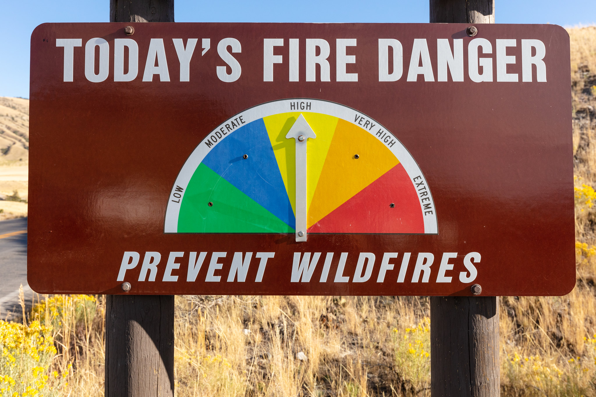 sign showing fire danger high