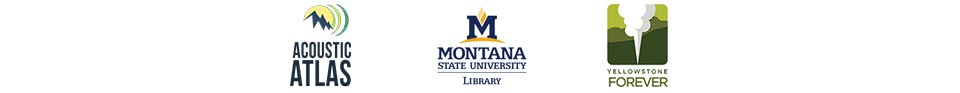 Logos for the Acoustic Atlas, Montana State University Library, and Yellowstone Forever