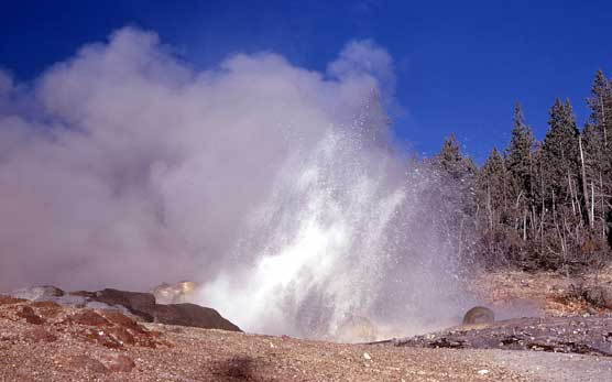 Steamboat Geyser splashing around and emitting some steam