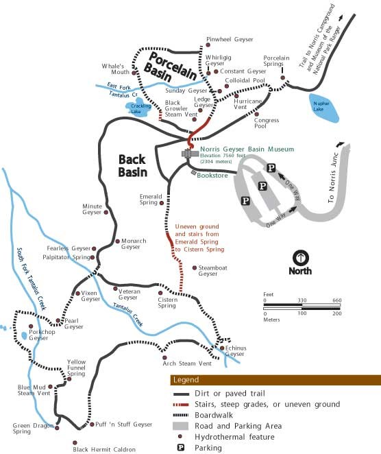 Map of Norris Geyser Basin