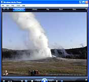 View of Old Faithful Erupting.