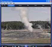 video webcam image of Old Faithful Geyser erupting