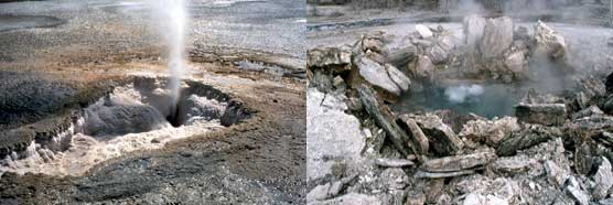 (Left) Steam rises from Porkchop Geyser before its hydrothermal explosion. (Right) Slabs of stone lay around the geyser's crater after the explosion.