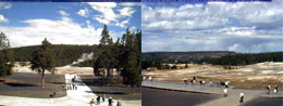 Two views of the Old Faithful area as seen through our webcams.