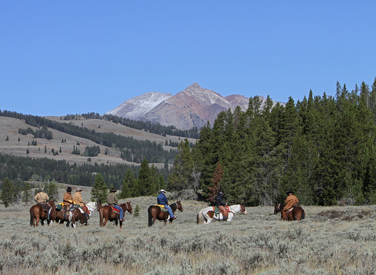 A group of horseback riders depart from the Glen Creek Trailhead.