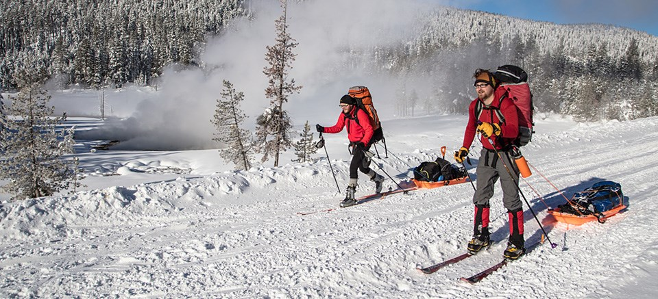 Skiers with backpacks and tow sleds make their way down a snow-covered road.