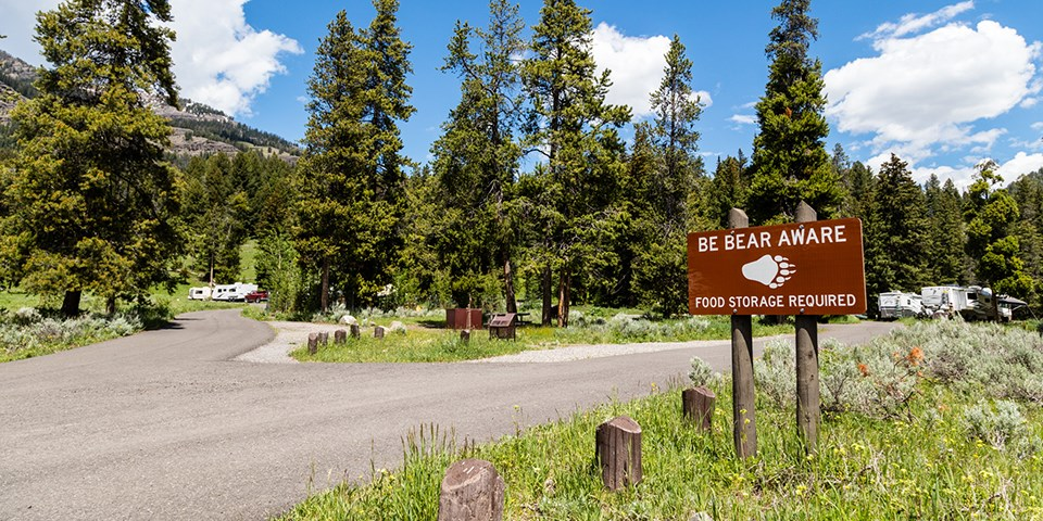 The entrance to the Pebble Creek Campground.