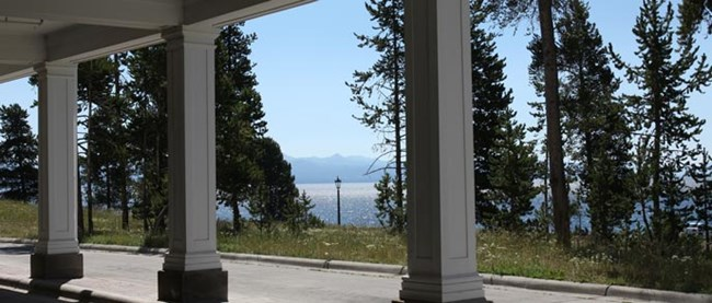 A view of Yellowstone Lake from the beneath a colonial awning