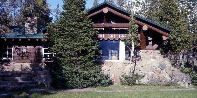 A rustic log building built on stone is surrounded by pine trees