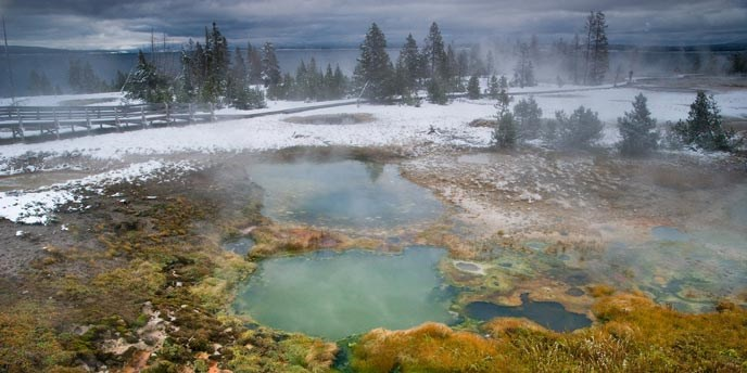 Colorful, steaming hot springs and surrounding vegetation next to snow covered rocks