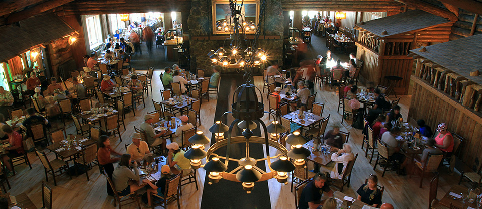 The dining room of the historic Old Faithful Inn, which opened in 1904.