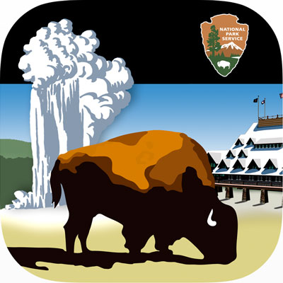 App icon, which depicts a bison in front of an erupting Old Faithful Geyser and the Old Faithful Inn
