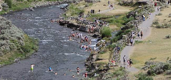 People bathing in a river