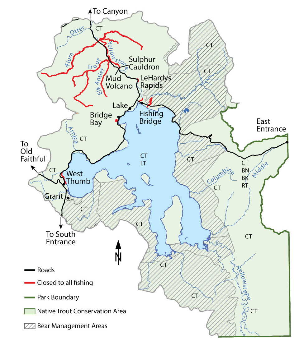 Map Of Fishing Locations In Yellowstone's Southeast