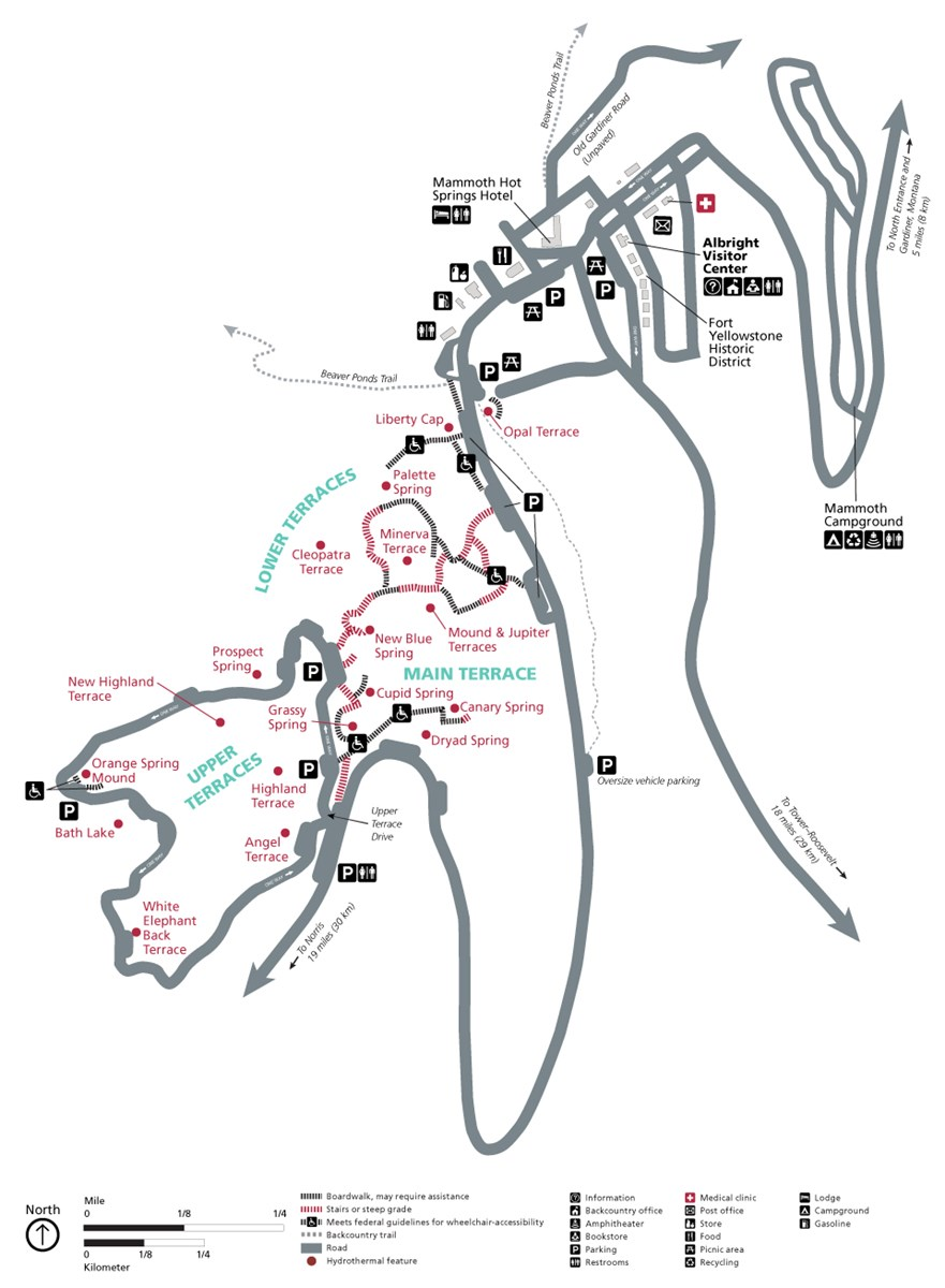 Map showing the location of services and the accessibility levels of trails.