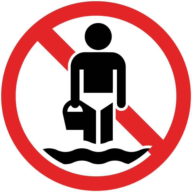 A symbol of a wading person with a red circle and slash through them to show that wading is not allowed.