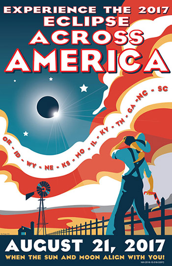 "Poster stating ""Experience the 2017 eclipse across America. August 21, 2017"""
