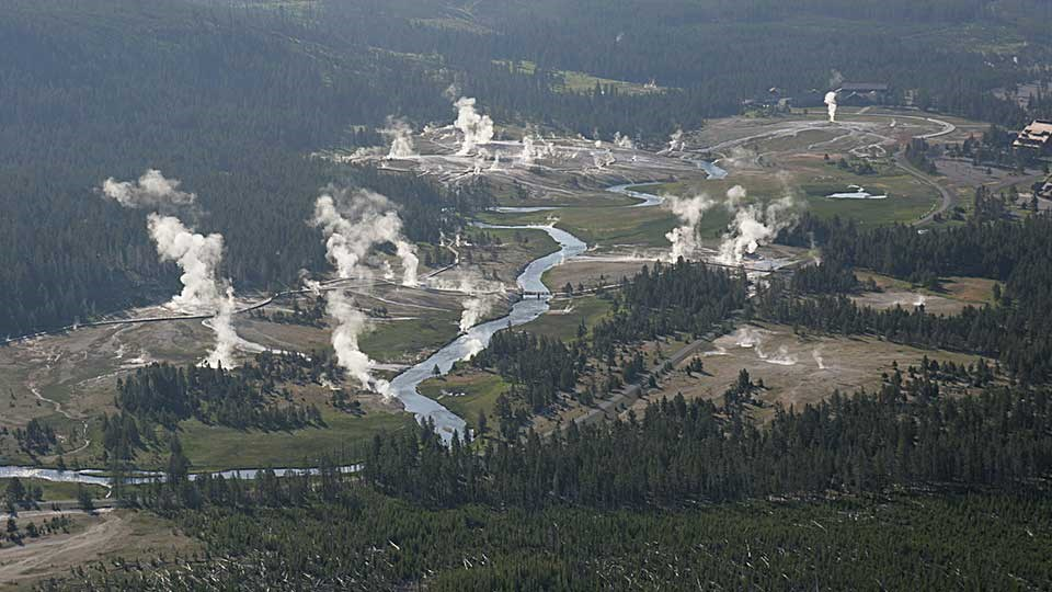 Aerial view of geyser basin