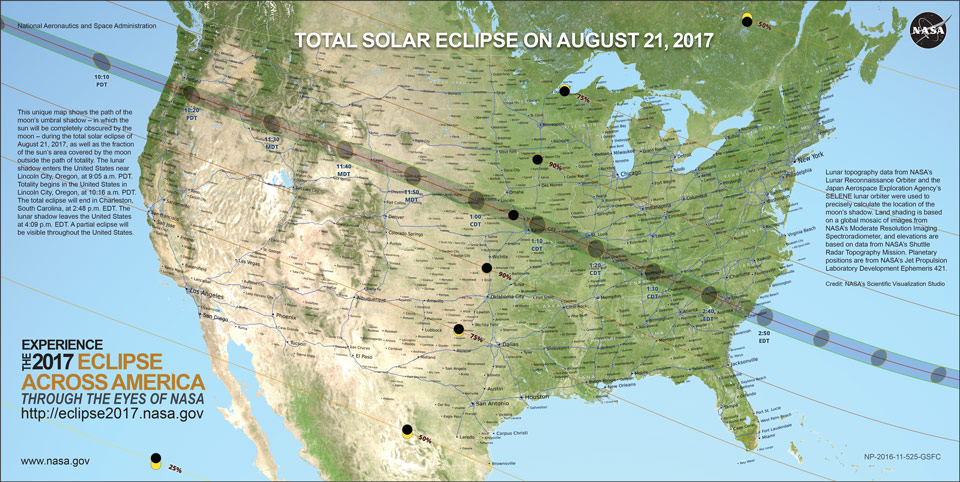 Map of the lower 48 showing the path of the 2017 solar eclipse