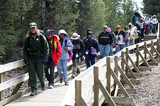 A ranger leads a group of children across a bridge in Yellowstone.