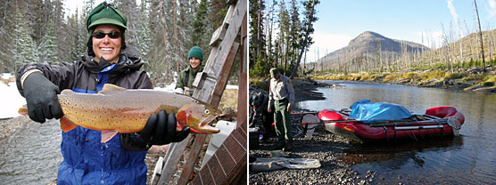 A collage of photos: person holding a giant trout and a person standing next to a boat by a body of water.