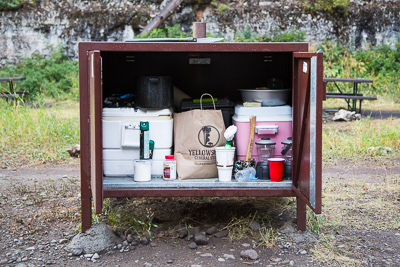 A bear proof food storage box in the Pebble Creek Campground