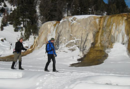 Two skiers pass Orange Spring Mound at Mammoth Hot Springs