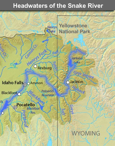 Snake River Map Snake River   Yellowstone National Park (U.S. National Park Service) Snake River Map