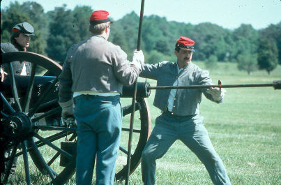 Civil War cannon firing by re-enactors