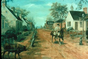 Sidney King painting of Yorktown's Main Street in the 1700's