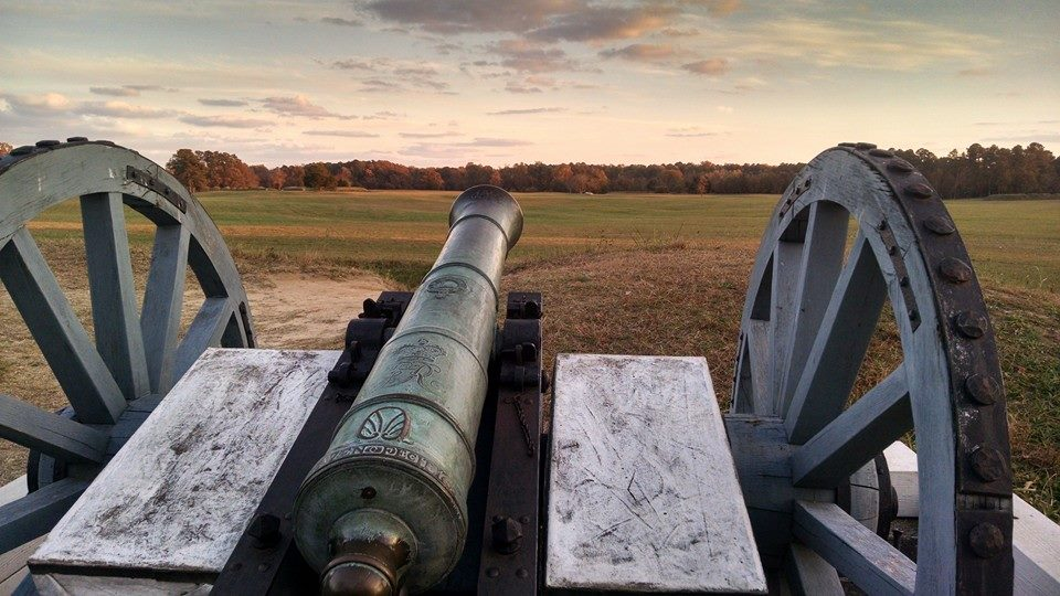 6 Pounder Cannon on top of British Defensive Earthworks at Yorktown Battlefield.