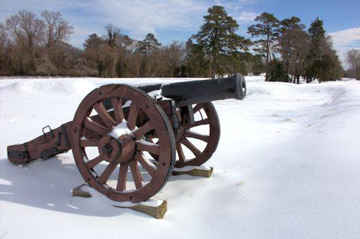 Orginal 12 Pounder Iron Cannon in snow