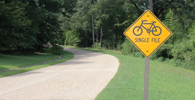 Ride Single File Bicycle Safety Sign On Colonial Parkway