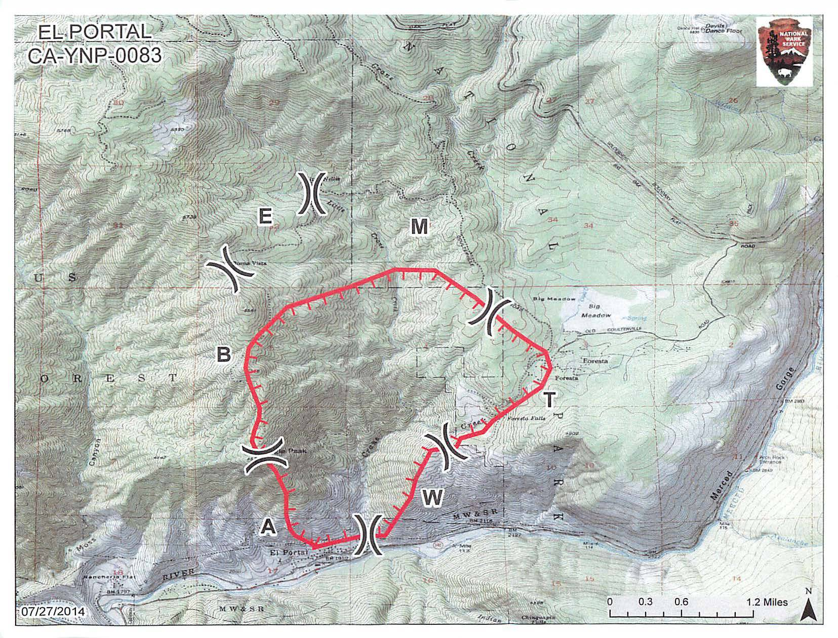 map showing fire perimeter in El Portal and Foresta areas