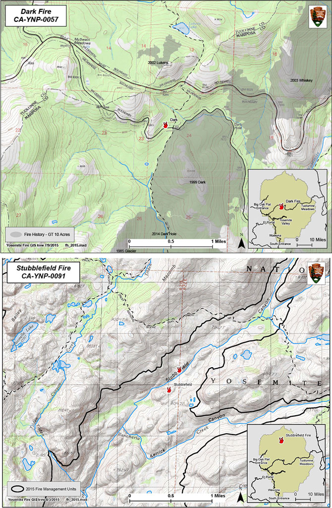 Map showing location of fires near the Dark Hole and Stubblefield Canyon