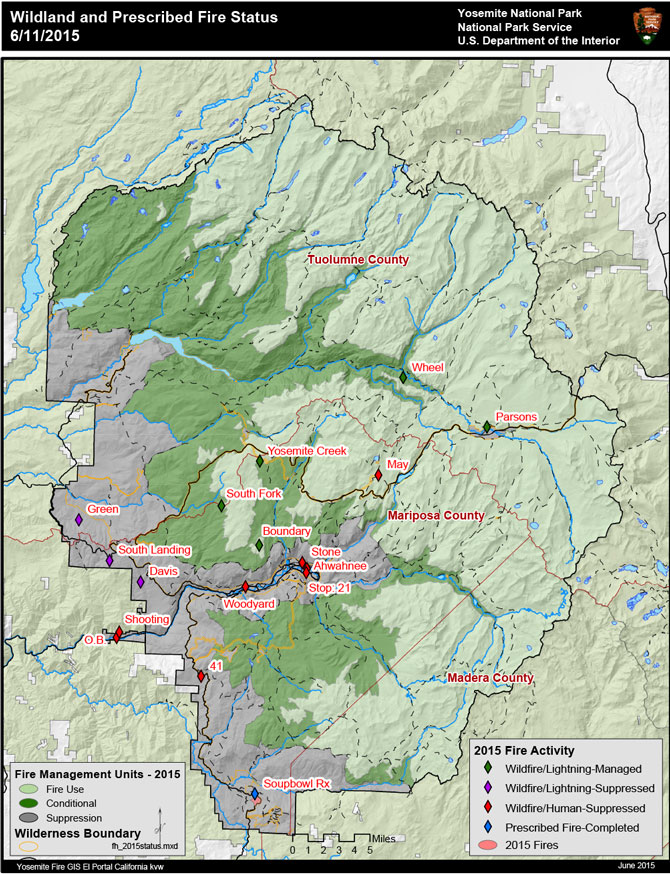 Fire Map Yosemite.Yosemite Fire Update For June 12 2015 Yosemite National Park